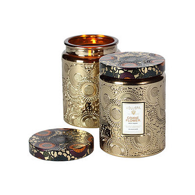 Voluspa Metallic Jar Candle, Crane Flower