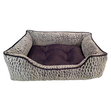 Arlee Home Fashions Inc Paws & Claws 59-00521GRY Zuma Tip Dyed Mink Lounger Pet Bed - 100 Percent Polyes