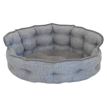 Arlee Home Fashions Inc Paws & Claws Ethan Basket Weave Tufted Headboard Pet Bed Gray