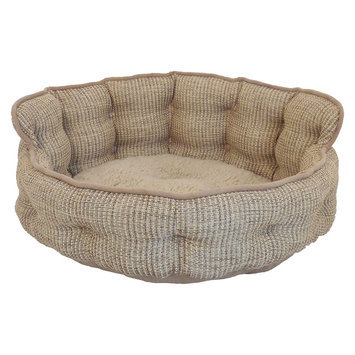Arlee Home Fashions Inc Paws & Claws Ethan Basket Weave Tufted Headboard Pet Bed Canyon
