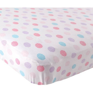 Luvable Friends Knit Fitted Crib Sheet - Pink Crosshatch Dots