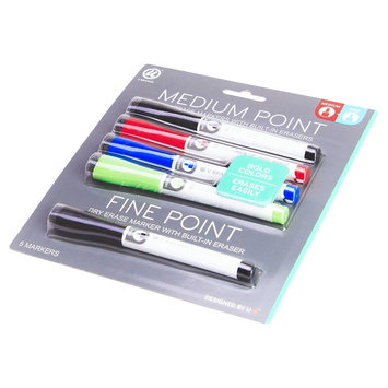 Ubrands Dry Erase Markers Medium and Fine Tip 5ct - U Brands, Multi-Colored