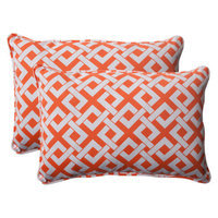 Pillow Perfect Outdoor 2-Piece Rectangular Toss Pillow Set - Orange/White Boxed In
