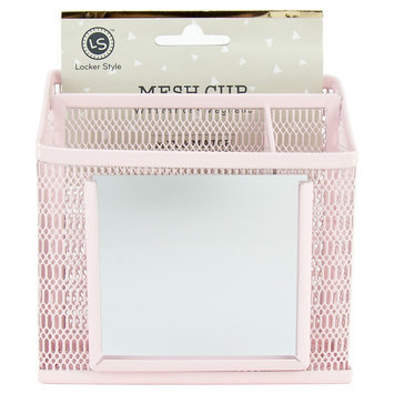 Ubrands Locker Style Mesh Utility Cup with Mirror - Blush, Pink
