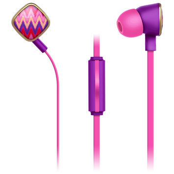Merkury Innovations Macbeth Earbuds with Mic - Harper Blush, Multi-Colored