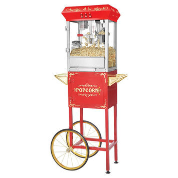 Dtx International Inc Red 8 Ounce Foundation Popcorn Machine and Cart