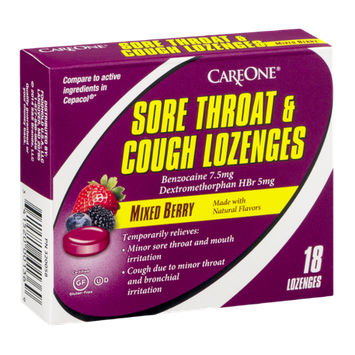CareOne Sore Throat & Cough Lozenges Mixed Berry - 18 CT