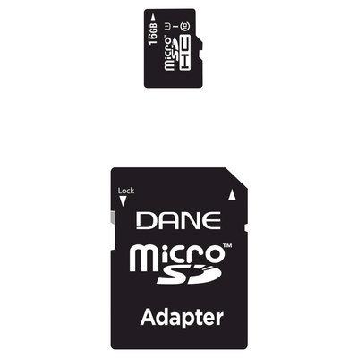 Dane 16GB CL10 MicroSD with SD Adapter - Black (DA2IN1C116G)