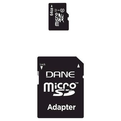Dane 64GB CL10 MicroSD with SD Adapter - Black (DA2IN1C164G)