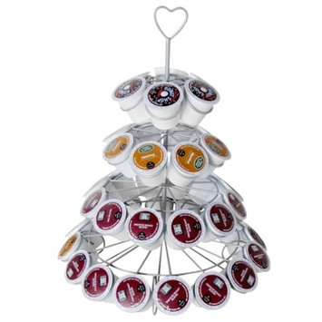 Evelots Decorative Coffee Capsule Holder Display Tower, Holds 42 Capsules, Silver