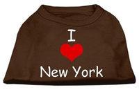 Ahi I Love New York Screen Print Shirts Brown Sm (10)