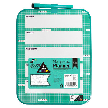 Yoobi x i am Other Magnetic Weekly Planner with Dry Erase Marker - Aqua (Blue) Grid