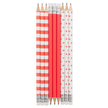 Sugar Paper Pencil Set, No. 2, 9ct - Neon Coral Patterns