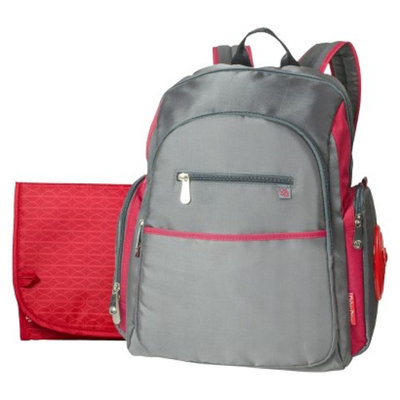 Fisher-Price Ripstop Diaper Bag Backpack - Grey/Red