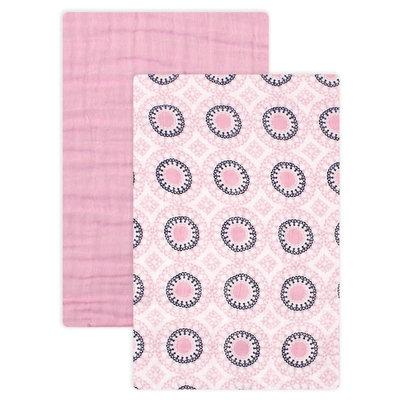 Yoga Sprout Muslin Swaddle Blanket 2pk - Pink Ornamental
