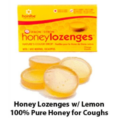 Honey Cough Drops - 100% pure Honey Cough Drop Lozenges with Menthol and Eucalyptus - Pack of 10 Pure Honey Cough Drops w/ Lemon for Cough Relief from Honibe
