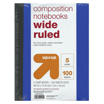 Poly Cover Compbooks, Wide Ruled, 100pgs, 9.75