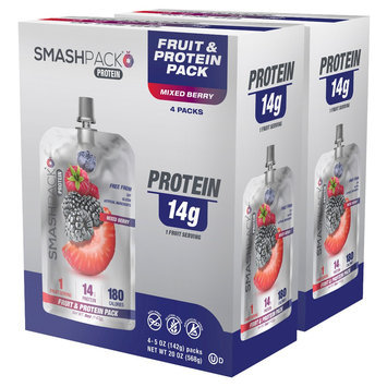 Smashpack Mixed Berry Protein Squeeze Pack - 4 Count