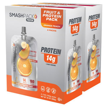 Smashpack Orange Peach Protein Squeeze Pack - 4 Count