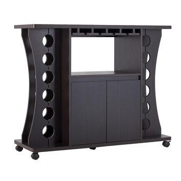 Wine Rack: Claren Curved Standing Wine Rack - Espresso (Brown) - Furniture of America
