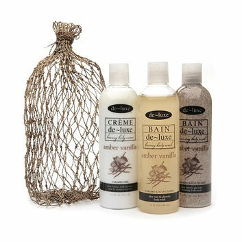 de-luxe BAIN Bath Set in Abaca Bag Amber Vanilla