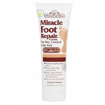Miracle of Aloe, Miracle Foot Repair Cream 4 oz with 60% Pure Organic Aloe Vera Softens Dry Cracked Feet. Quick Fast easy Painless Penetrates Through Layers of Skin Speeds Up Cell Renewal Moisturizes Skin Guaranteed Helpful Athlete's Foot Symptoms
