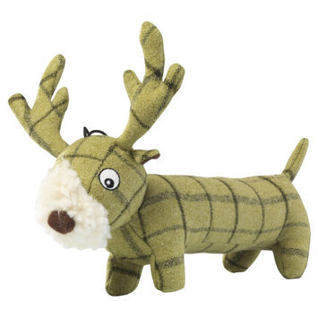 House of Paws Green Tweed Plush Long Stag Dog Toy