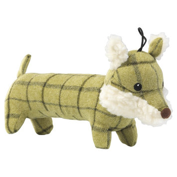House of Paws Green Tweed Plush Long Fox Dog Toy