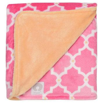 Boppy Ultra Plush Lattice Print Blanket - Pink/Orange