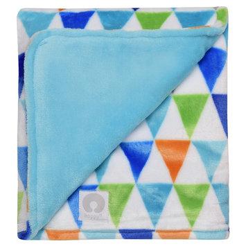 Boppy Ultra Plush Flag Multi Print Blanket - Blue
