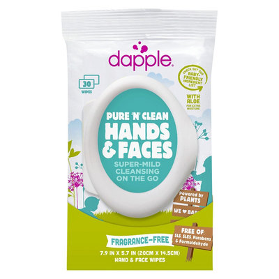 Dapple Moisturizing Hand & Face Wipes, Soft Pack (30 Count)