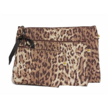 Lucky Brand Wild Cat Travel Pouches Cosmetic Case Leopard Print Set of 3