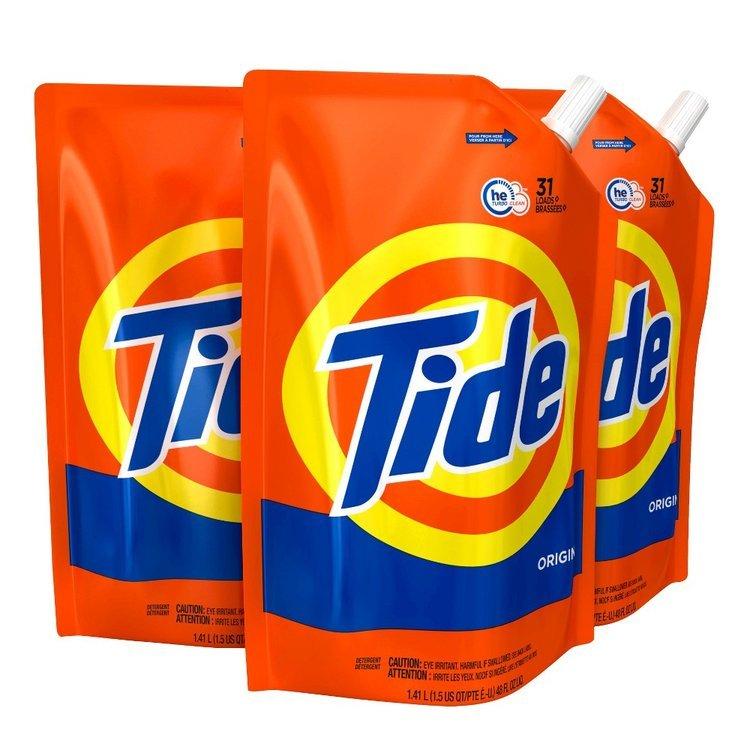Tide Original 48oz/31 loads 3pack Liquid Laundry Detergent Pouch
