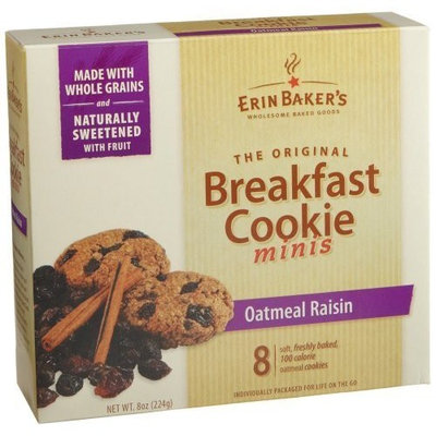 Erin Baker's Breakfast Cookie Minis Oatmeal Raisin, 8-Count Boxes (Pack of 6)