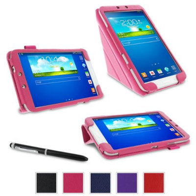 rooCASE Samsung Galaxy Tab 3 8.0 Case - Origami Stand Tablet Case - MAGENTA (With Auto Wake / Sleep Cover)