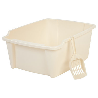 Iris High Sided Litter Pan with Scoop, Ivory, Buff Beige