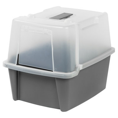 Iris Split-lid Hooded Litter Box, Gray, Grey