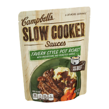Campbell's Slow Cooker Sauces Tavern Style Pot Roast with Mushrooms and Roasted Garlic