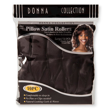 Donna Pillow Satin Rollers 10 ct, Black