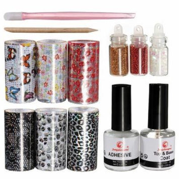 Nail Art Tips Design Transfer Foils Kit Adhesive Top Base Coat Creative DIY Set by Generic