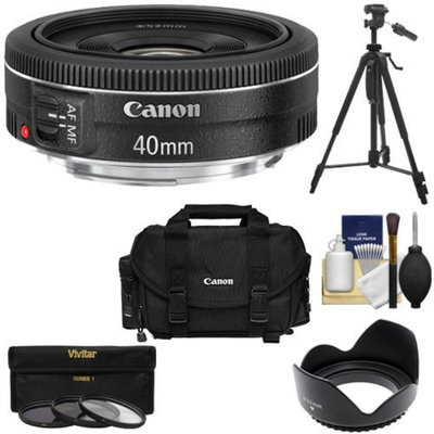 Canon EF 40mm f/2.8 STM Pancake Lens with Canon 2400 Case + 3 (UV/CPL/ND8) Filters + Hood + Tripod + Kit for EOS 6D, 70D, 5D Mark II III, Rebel T3, T3i, T4i, T5, T5i, SL1 DSLR Cameras