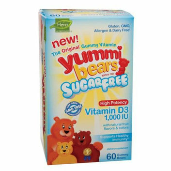 Hero Nutritionals Hero Nutritional Products Yummi Bears Sugar Free Vitamin D3 Fruit Flavors 1000 IU 60 Pack