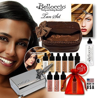 Belloccio's® TAN Complexion Professional Airbrush Cosmetic Makeup System. Belloccio® Is the Superior Brand of Airbrush Makeup. It's Made in the USA From All FDA Approved Ingredients and Is Paraben & Oil Free. 1 Year Warrantee on All Equipment & FREE Bonus Items. Love Our Makeup or Return It for a Full Refund.