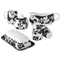 Hayz Global Damask 6 Piece Completer Set - Black/White