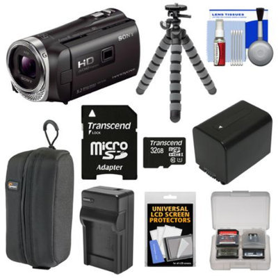 Sony Handycam HDR-PJ340 16GB 1080p HD Video Camera Camcorder with Projector with 32GB Card + Battery & Charger + Case + Flex Tripod + Kit
