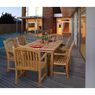 Amazonia Honolulu 7 Piece Teak Rectangular Patio Dining Set Brown