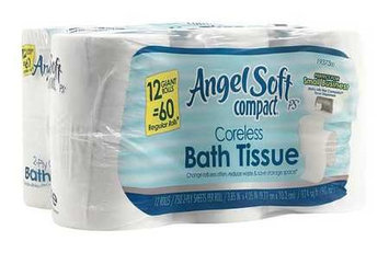 Georgia Pacific 1937300 Angel Soft ps Compact Coreless Bath Tissue 2-Ply WE 750 Sheets/Roll 12 RL/CT