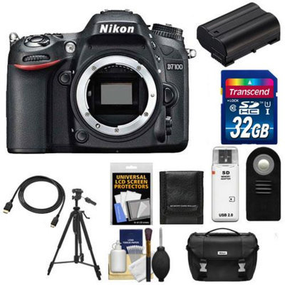 Nikon D7100 Digital SLR Camera Body with 32GB Card + Case + Battery + Remote + Tripod + Accessory Kit