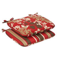 Pillow Perfect 2-Piece Outdoor Reversible Seat Pad/Dining/Bistro Chair Cushion Set -