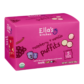 Ella's Kitchen Puffits Raspberry + Vanilla - 5 CT